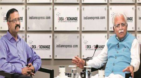Haryana CM Manohar Lal Khattar at the idea exchange in Noida on April 19th 2016. Express photo by Ravi Kanojia.