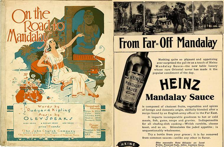 Kipling's works, one poem in particular called Mandalay did inspire a popular sauce and many cocktails back in the early 1900s.