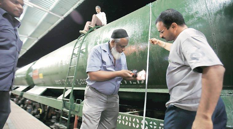 It takes 3 hours to fill a wagon with 50,000 litres at Miraj right now. Plan is to cut this to 10 hours for 50 wagons. (Express Photo by Arul Horizon)