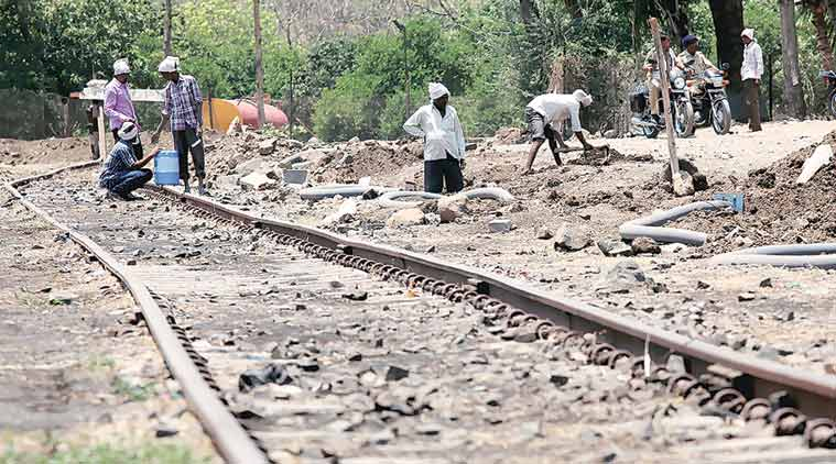 Pipeline being laid at Latur railway station. The idea is to cut down time taken in use of water tankers. (Express Photo by Pradip Das)