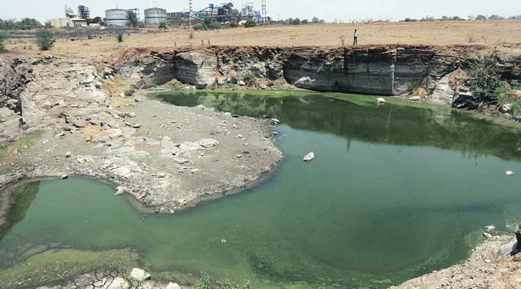 Residents of Mahadev Nagar, located about 15 km from Latur station, depend on this pond for water.  (Express Photo by Pradip Das)