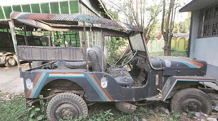 Ganikhan chowdhury's election car now in garbage in front of his Kotwali house in Malda. Express photo by Subham Dutta. 12.04.16