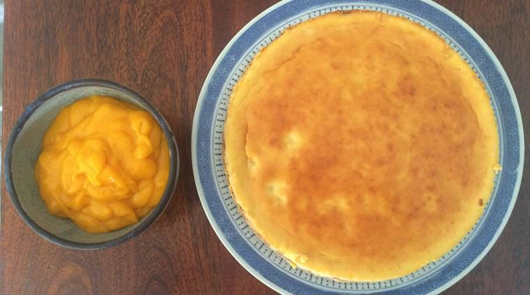 Once you cool the cheesecake, freeze for atleast five hours. Top the cheesecake with aamras before you serve. (Photo: Bijal Vachharajani)