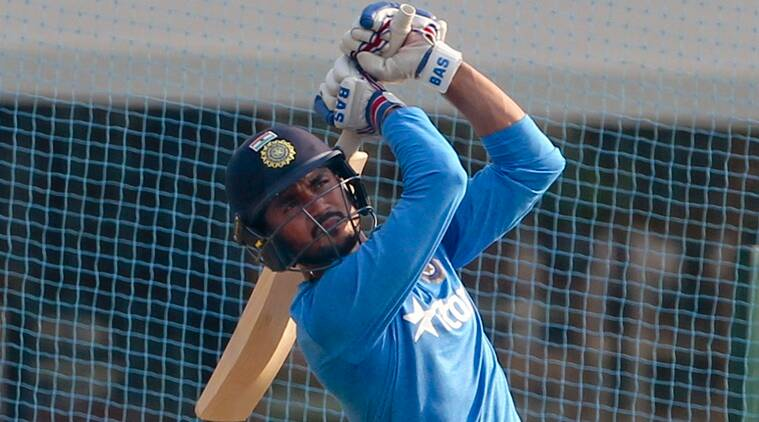 India's Manish Pandey bats during a practice session ahead of their ICC Twenty20 2016 Cricket World Cup semi final match against West Indies in Mumbai, India, Tuesday, March 29, 2016. (AP Photo/Rafiq Maqbool)