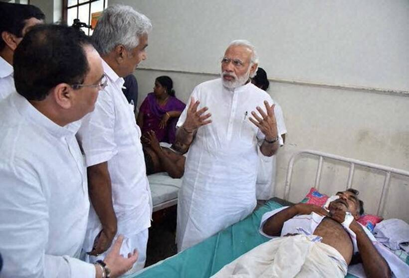 Narendra Modi meet victims of the tragedy in Kollam Paravoor