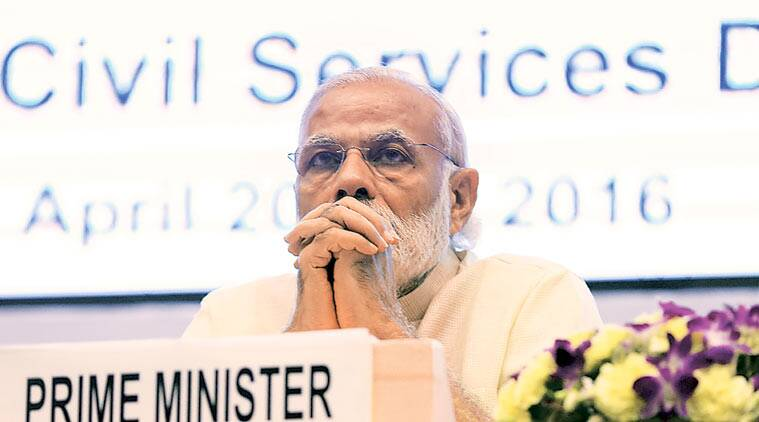 Prime Minister Narendra Modi at the Civil Services Day function in New Delhi on Thursday. Amit Mehra
