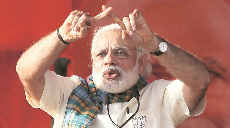 Prime Minister Narendra Modi at a BJP election campaign rally at Basirhat in North 24 Parganas on Thursday. Express photo by Subham Dutta. 21.04.16