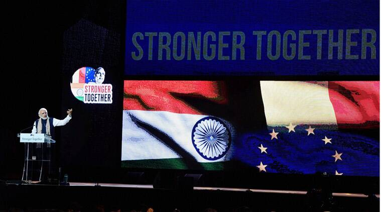 Prime Minister Narendra Modi addressing the Indian Community in Brussels on Wednesday .