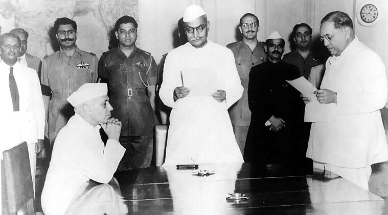 BR Ambedkar being administered the oath of office by President Rajendra Prasad in the presence of Jawahar Lal Nehru, 1947