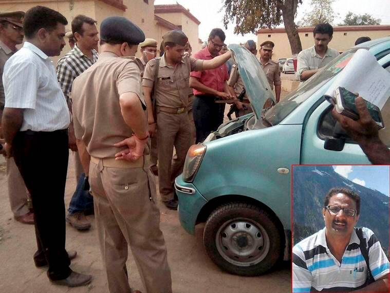 Bijnor: Police personnel checking the car of NIA officer Mohammed Tanzil (inset) who was shot dead by unidentified assailants on Saturday night as he was on his way back from a function with his wife and two children, in Bijnor on Sunday. PTI Photo(PTI4_3_2016_000256B)