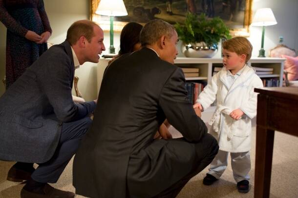 Prince George, Barack Obama, Obama queen meeting, obama prince george meeting, obama british royals, britain royal, britain royal family, british royal obama, queen elizabeth obama meeting, queen elizabeth 90 birthday, prince George photos, british royal photos, kate middleton, prince william, britain news, england news, us news, world news
