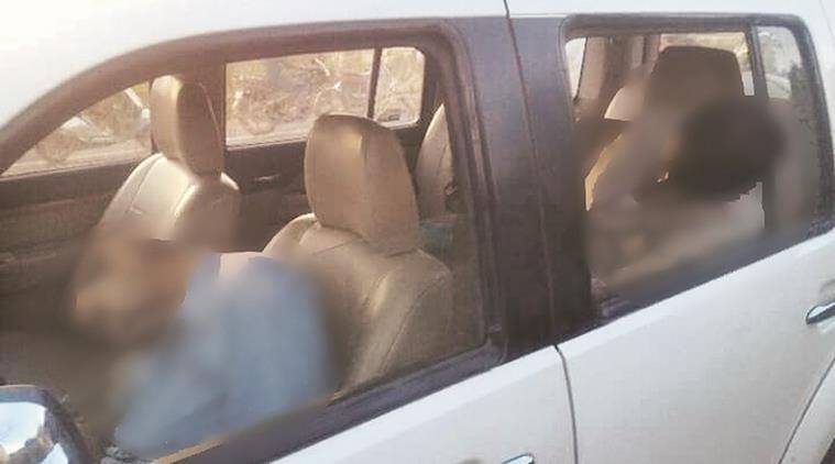 Two male bodies of Gurcharan Singh and Ramesh Kumar found in the Endeavor SUV at Nangal in district Ropar on Thursday, April 14 2016. Express photo