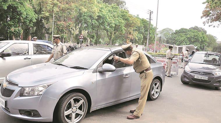 Checking of outsiders vehicles at Panjab University Chandigarh on Monday, April 18 2016. Express Photo by Sahil Walia