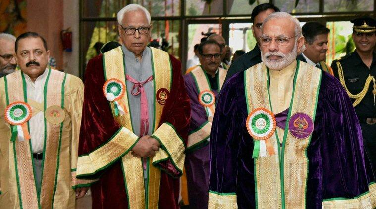 Jammu: Prime Minister Narendra Modi at the 5th Convocation of Shri Mata Vaishno Devi University at Katra in Jammu and Kashmir on Tuesday. Governor of Jammu and Kashmir N N Vohra, MoS for Development of North Eastern Region (I/C), Prime Minister's Office, Personnel, Public Grievances & Pensions, Department of Atomic Energy, Department of Space, Jitendra Singh and the Deputy Chief Minister of Jammu and Kashmir, Nirmal Kumar Singh are also seen. PTI Photo(PTI4_19_2016_000032B)