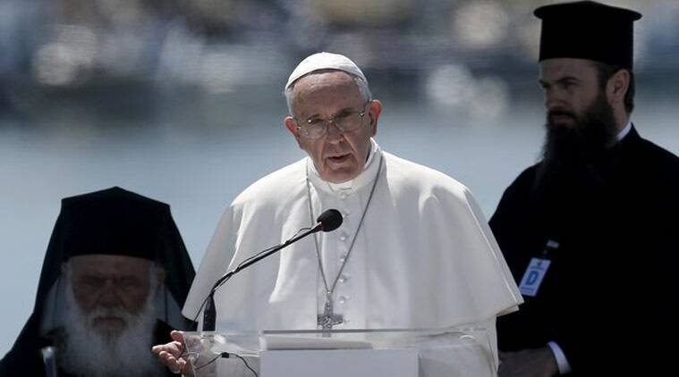 Pope Francis delivers his address at the port of Mytilene during his visit on Greek Island of Lesbos aiming at supporting refugees and drawing attention to the front line of Europe's migration crisis in Lesbos. (Source: Reuters photo)