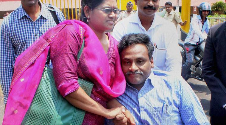 Nagpur: DU Professor G N Saibaba, who was arrested for alleged links with Maoists, outside the Nagpur Central Jail with wife Vasanta Kumari and brother Ramdeo, in Nagpur on Thursday. PTI Photo (PTI4_7_2016_000089A)