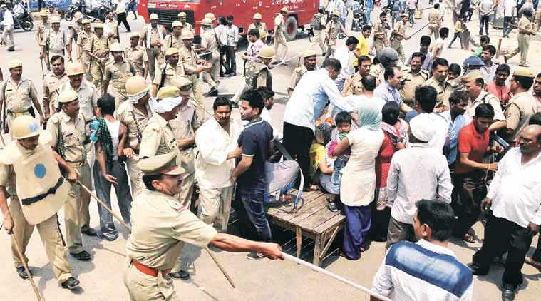 Police personnel were deployed to bring the protests under control. (Express Photo: Gajendra Yadav)
