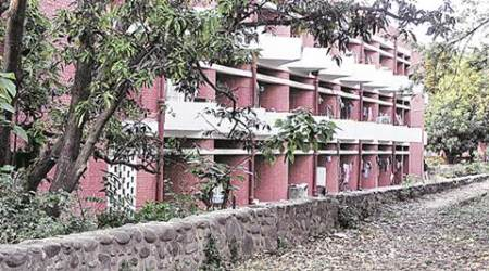 Boundary wall of boys hostels at Panjab University Chandigarh on Sunday, April 10 2016. Express Photo by Sahil Walia