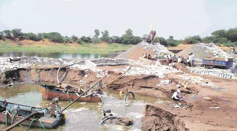 sand mining, Solapur collector, Tukaram Mundhe, Praful Kadam, NMMC chief, sand mining auction, India news, latest news, Indian express