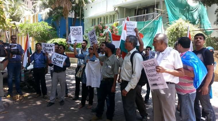 qnet scam, Michael Ferreira, Michael Ferreira house, mumbai resident protest, qnet scam protest, indian express mumbai