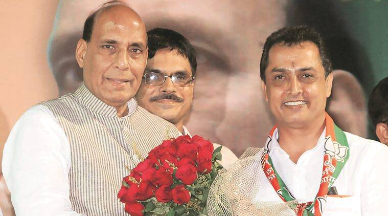 Rajnath Singh, Home Minister of India attend a BJP campaign rally at Chowrangee assembly constituency in Central Kolkata on Monday Evening. When BJP candidate Ritesh Tiwari at his left. Express photo. 18.04.16