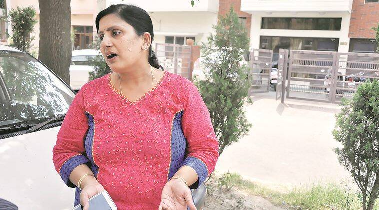 Rama garg wife of Kailash Chand who was murdered by robbers at his shop in sector 22, after the conviction in this case in Chandigarh on Monday, April 18 2016. Express Photo by Sahil Walia