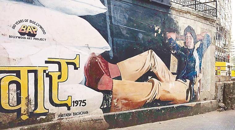 Slices of Mumbai's film lore are found as murals across the village, the most iconic being that of Amitabh Bachchan in his Deewar pose. Courtsey: Ranjit Dahiya