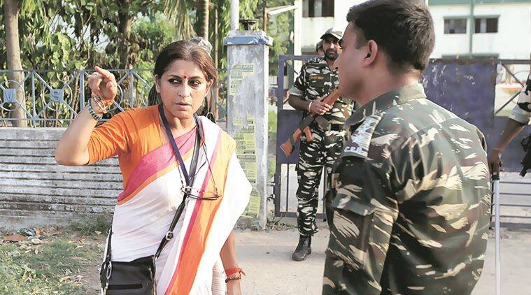 Actor turn politician BJP candidate from Howrah Uttar Assembly constituency Rupa Ganguly outside a polling booth in on Monday Express photo by Partha Paul.25.04.16