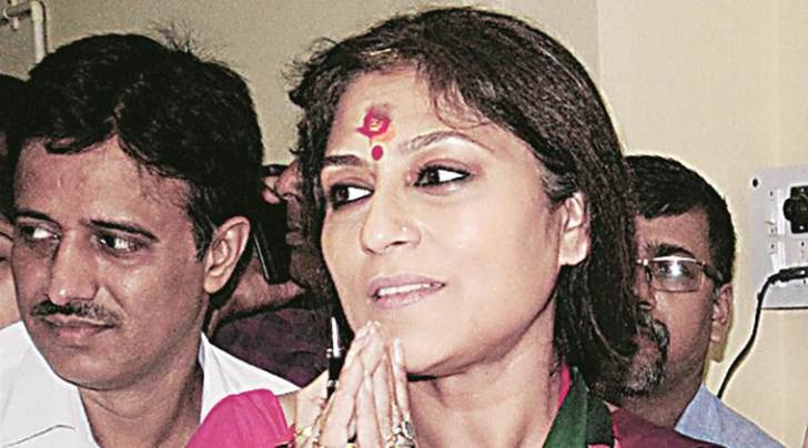 BJP candidate Roopa Ganguly arrives to file her nomination papers for Howrah (North) Assembly at Howrah on Thursday. (PTI Photo)