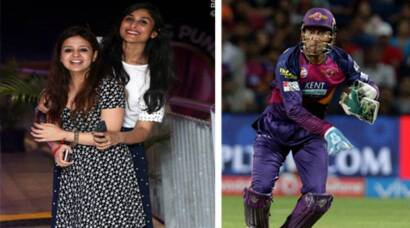 Sakshi cheers for MS Dhoni and team during IPL 2016 match in Pune
