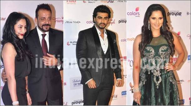 Sanjay Dutt, Maanyata, Arjun, Sania at a beauty pageant