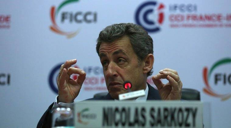 Former president of France Nicolas Sarkozy addressing a gathering on 'France, Europe and India, Challenges and opportunities' in FICCI New Delhi (Source: Express Tashi Tobgyal)