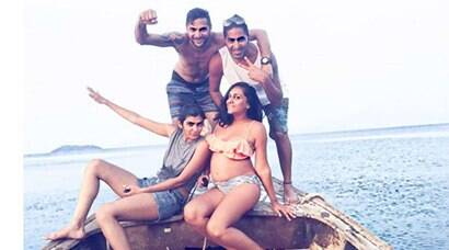 Shveta Salve flaunts her baby bump in crop top and bikini; see pics