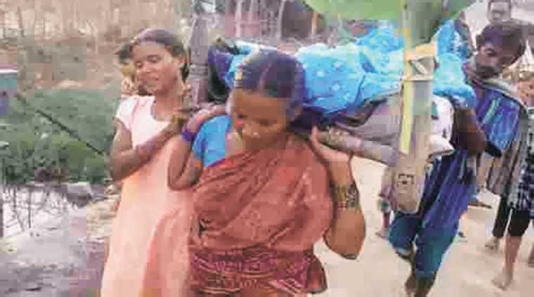 Chandrakanti and Rosy took the step after no man from the village came forward to carry Dei Pradhan's body.  (Express Photo)