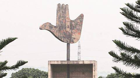 Open Hand Monument at Capitol Complex in Chandigarh. Express Photo