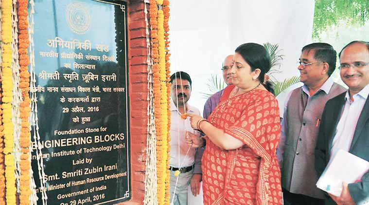 Union HRD Minister Smriti Irani at IIT Delhi Friday. (Express Photo)