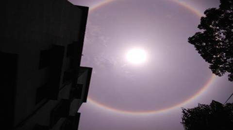 22 Degree Halo. a ring of light around the sun on  Saturday on Kolkata sky. Express photo by Subham Dutta. 30.04.16