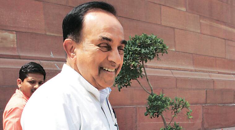 Subramanian Swamy at Parliament House Wednesday, starting his innings as a BJP Rajya Sabha MP. Prem Nath Pandey
