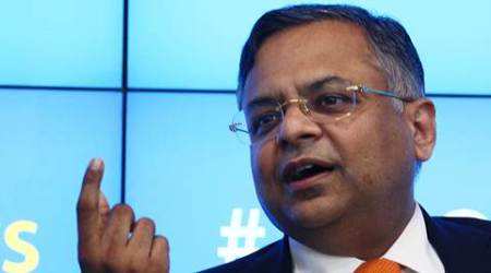 N. Chandrasekaran CEO & MD Tata Consultancy Services, media briefing to announce the financial results ending June 15 today at TCS House, Fort. Express Photo by Amit Chakravarty. 09.07.2015. Mumbai.