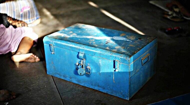 The blue trunk containing all of Kajal's belongings.(Express Photo by Tashi Tobgyal)