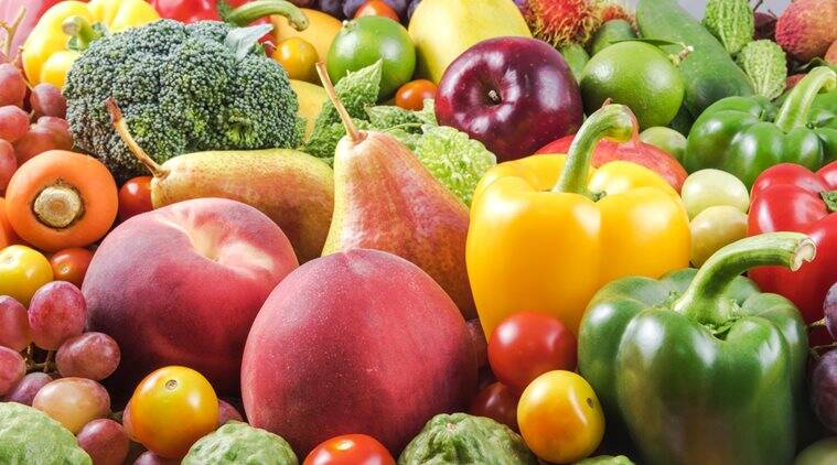 Group of Nutritious fruit and vegetables organic for healthy