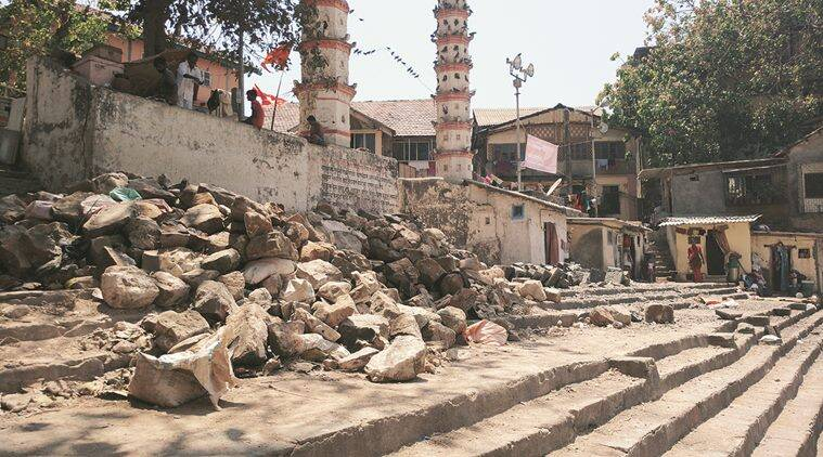 In preparation for the royal visit, the restoration work of the steps has been stopped and boulders and stones being used for the work have been piled away. Shweta Bhutada