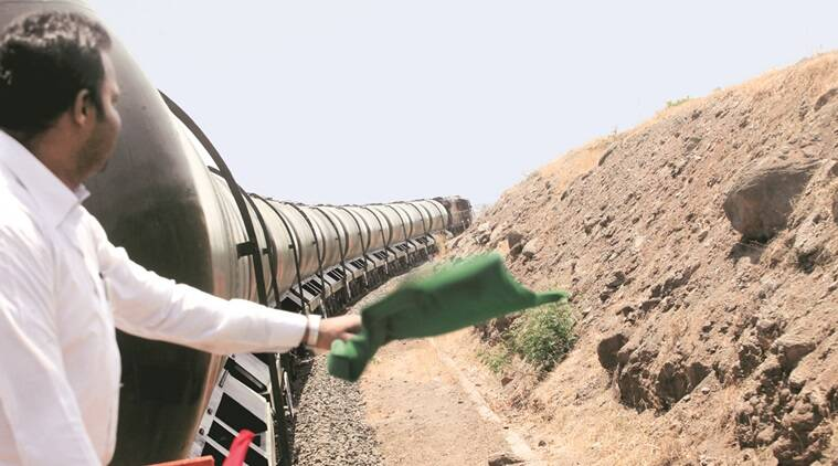 Water train carrying potable water on it's way to Laturfrom Miraj. It is part of an intiative by Railway ministry and state government to providewater to the drought hit areas in Maharashtra. Express Photo by Arul Horizon, 13/04/2016, Pune