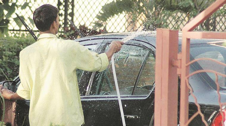 File photo of wastage of water in Chandigarh..