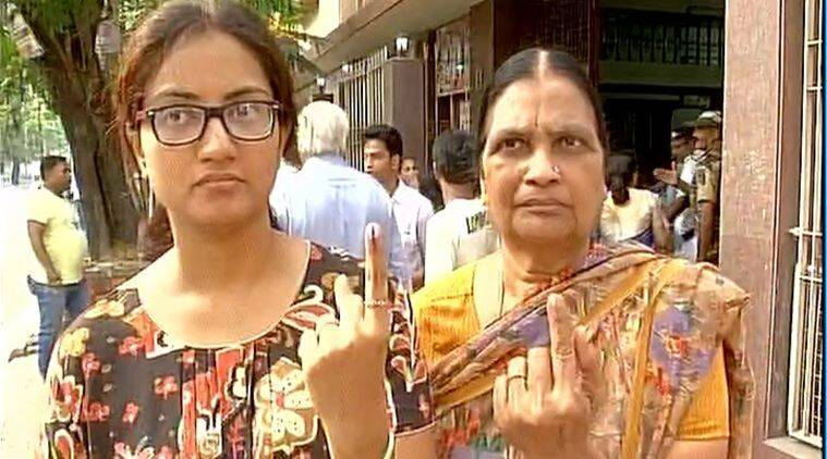 Voters after casting their vote for the 5th phase of West Bengal Assembly elections. (ANI)