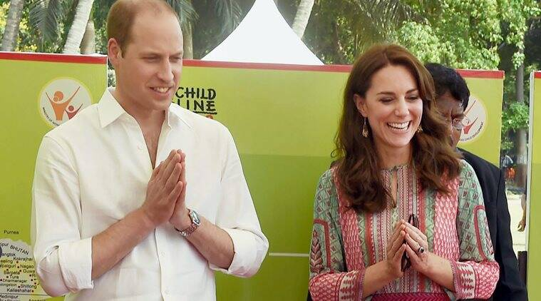 Mumbai: Prince William, Duke of Cambridge and Catherine, Duchess of Cambridge greet school chldren during a charity program at Oval Maidan in Mumbai on Sunday. PTI Photo by Mitesh Bhuvad(PTI4_10_2016_000176B)