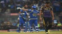 MI Pollard celebrate after winnign the match against KKR. Express photo by Kevin DSouza, Mumbai 28-04-2016