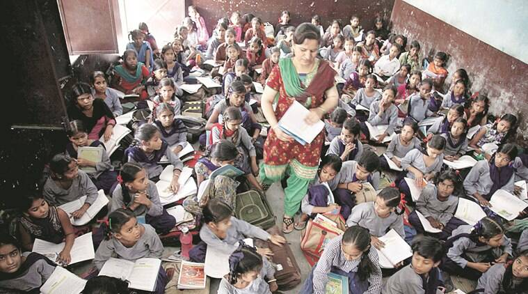Even teacher find hard to walk as alll most around 100 girl stuents sits every day in a room of class 5th at Govt. Primary school at Dhandari KHurd in Ludhiana.Express Photo by Gurmeet Singh