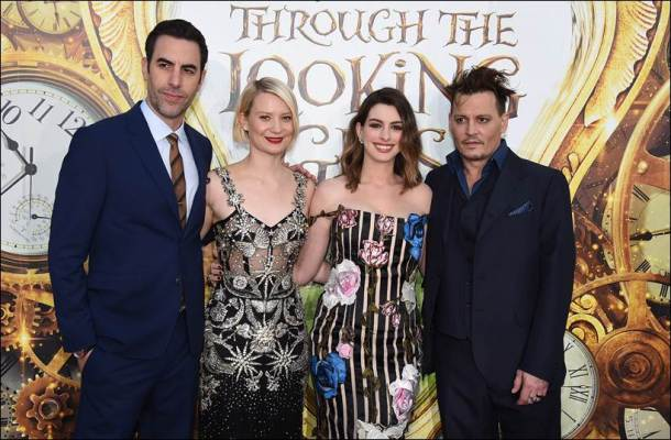 alice through the looking glass, alice through the looking glass premiere, alice through the looking glass release, alice through the looking glass rating, alice through the looking glass movie, alice through the looking glass cast pics, alice through the looking glass premiere pics, anne hathaway, johnny depp, Mia Wasikowska, Sacha Baron Cohen, entertainment