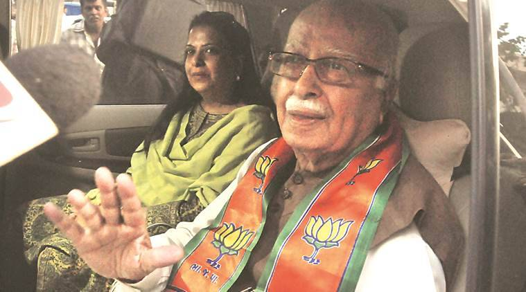 L K Advani with his daughter Pratibha. Express photo by Javed Raja